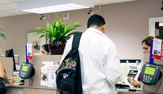 customers at bank